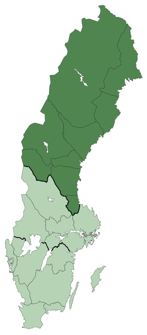 Map of Sweden with Norrland in dark green - look at how large it is!
