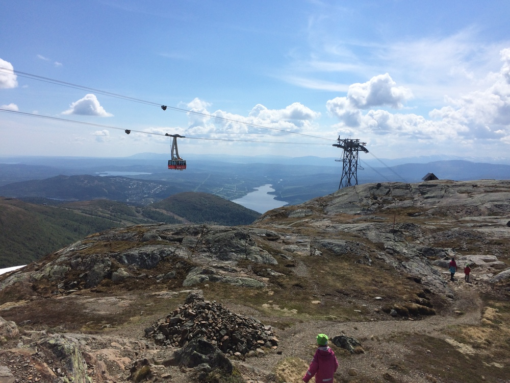 View from the top of the mountain in Åre ski area - much gentler than Norwegian mountains and an excellent source of tourism through skiing and mountain biking.