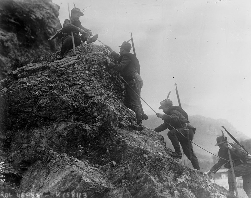 Italian Alpini troops climbing in the Dolomites. I obviously did not take this photo.