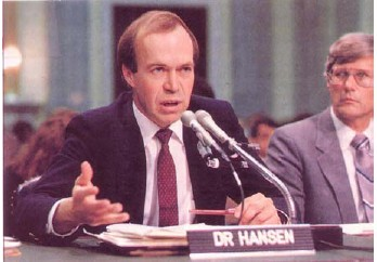 Figure 3:  James Hansen testifying before Congress in 1988 on the results of his general circulation model.
