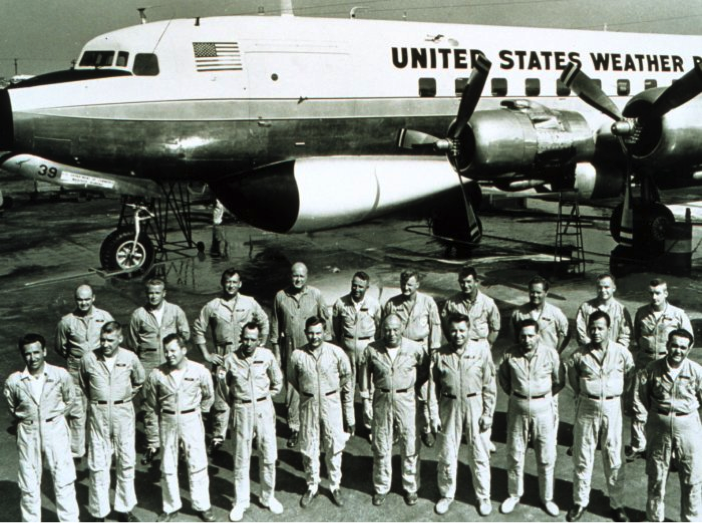 Figure 3:  1966 photo of the crew and personnel of Project Stormfury (image via the U.S. National Oceanic and Atmospheric Administration).