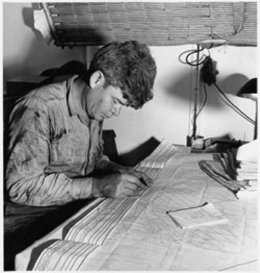 Figure 1:  Maurice Ewing in 1948, one of the many earth scientists to utilize Naval vessels and obtain powerful oceanic datasets. Image courtesy of Columbia University.