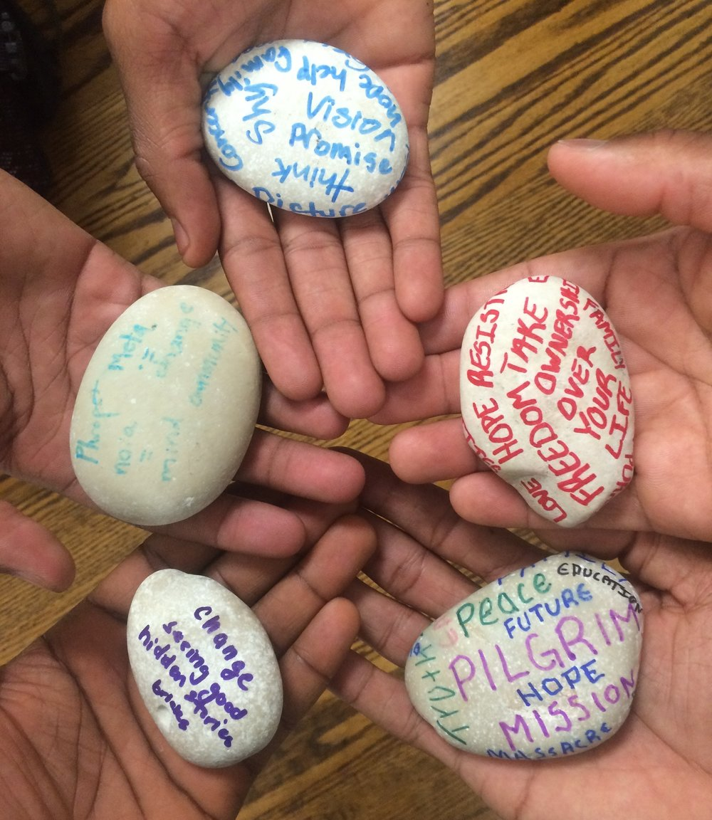 we created stones of remembrance to remind us of how god spoke to us on our jounrey