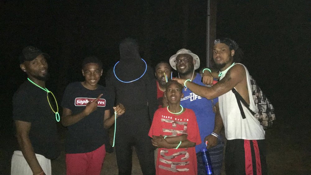 "Fred (l) posing with staff & campers during our ""night hike"" at camp new hope in hillsborough, NC"
