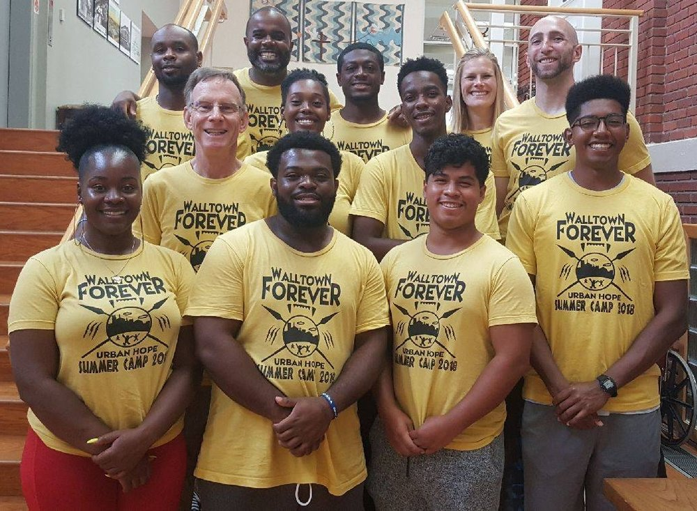The 2018 Urban Hope Summer Camp staff rocking our Walltown Forever t-shirts