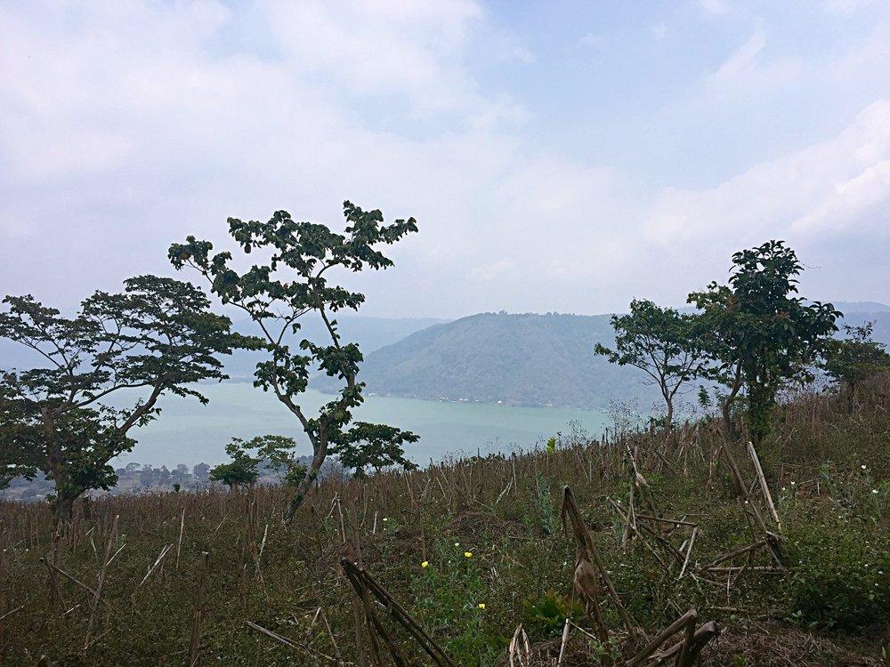The view from El Xalum, looking down towards Lago Amatitlán.