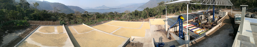 Panorama of the brand new mill at Xalum, overlooking Lake Amatitlán.