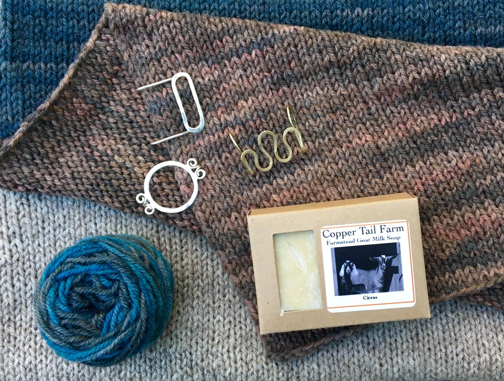 Copper Tail Farm Soaps, Leslie Wind Shawl Pins & Romney Ridge Farm Blend.