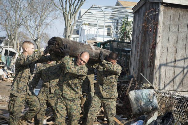 Marines from the 8th Engineering Support Battalion, N.C. removed rubble in New York in the aftermath of Hurricane Sandy.