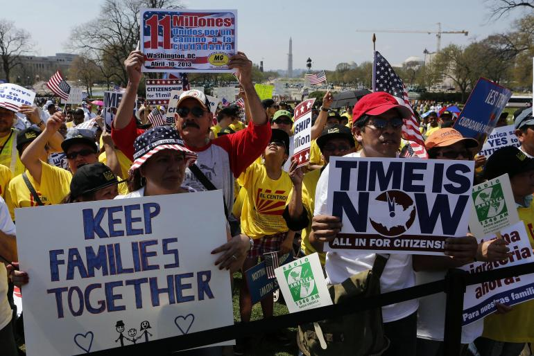 A rally for immigration reform in Washington, D.C. Photo via  ibtimes.com .