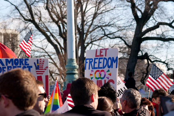 Outside the U.S. Supreme Court in Washington, D.C., on March 27, 2013. Photo by Sara Bissig.