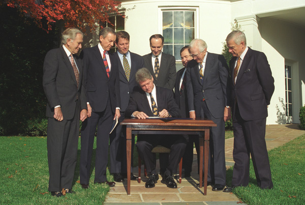 President Bill Clinton signed the Religious Freedom Restoration Act into law on November 16, 1993. Photo via research.archives.gov.