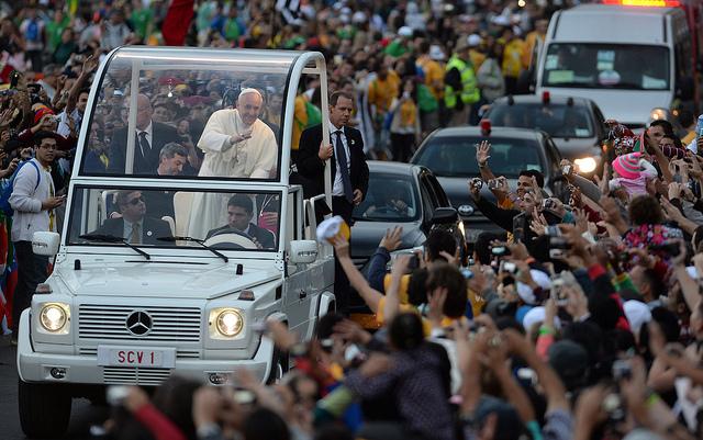 Pope Francis in  Rio de Janeiro in July. Photo via AFP PHOTO / EVARISTO SA