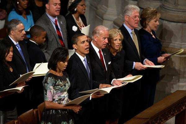 The Obamas, Bidens and Clintons at a National Day of Prayer service.
