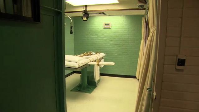 A lethal injection table in a prison.