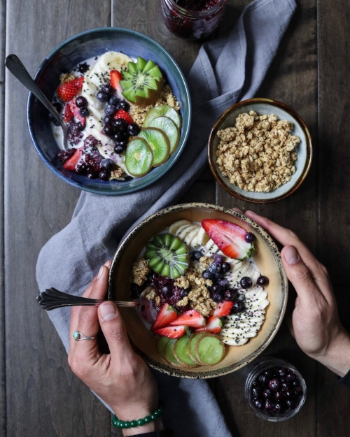 Vegan breakfast bowl with cherry chia chaga jam collab with edgarraw is a wonderful creative recipe creator and food photographer he made this delicious looking breakfast bowl full of healthy foods that will make forumfinder Images