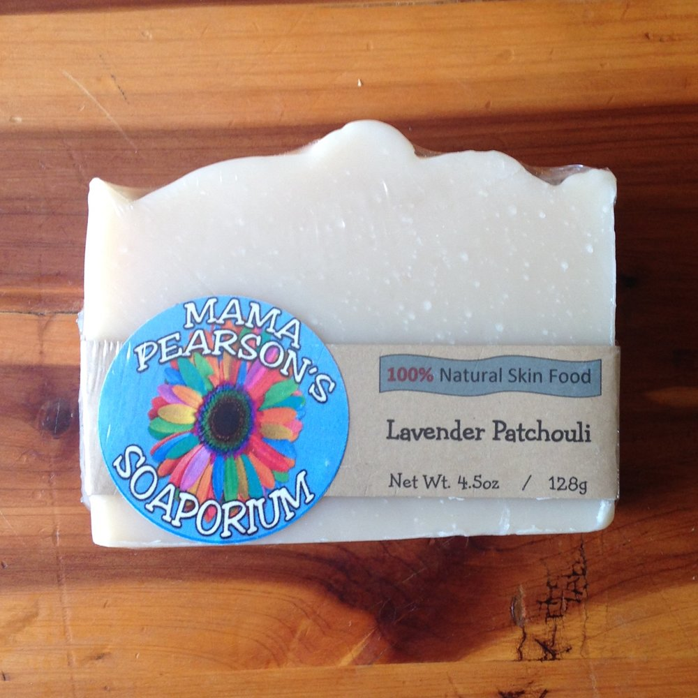 Item to Use   Lavender Patchouli Natural Skin Food Bar from Mama Pearson's Soaporium   https://www.mamapearsons.com/