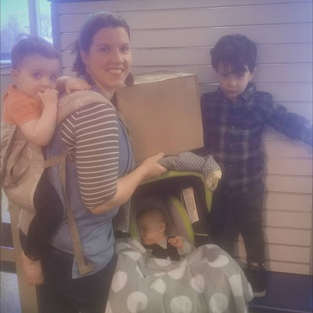 I'm not sure how we did it, but we got boxes out today. Praise God for sleeping babies!