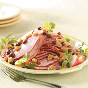 Ham with Appple Raisin Sauce