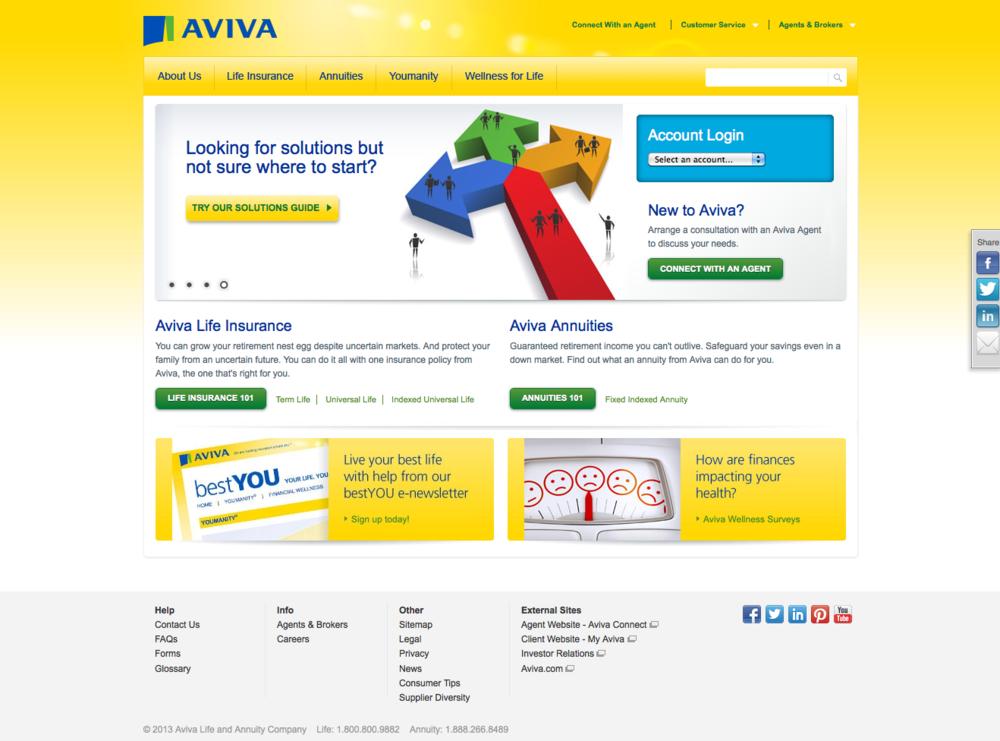 Aviva USA Home page
