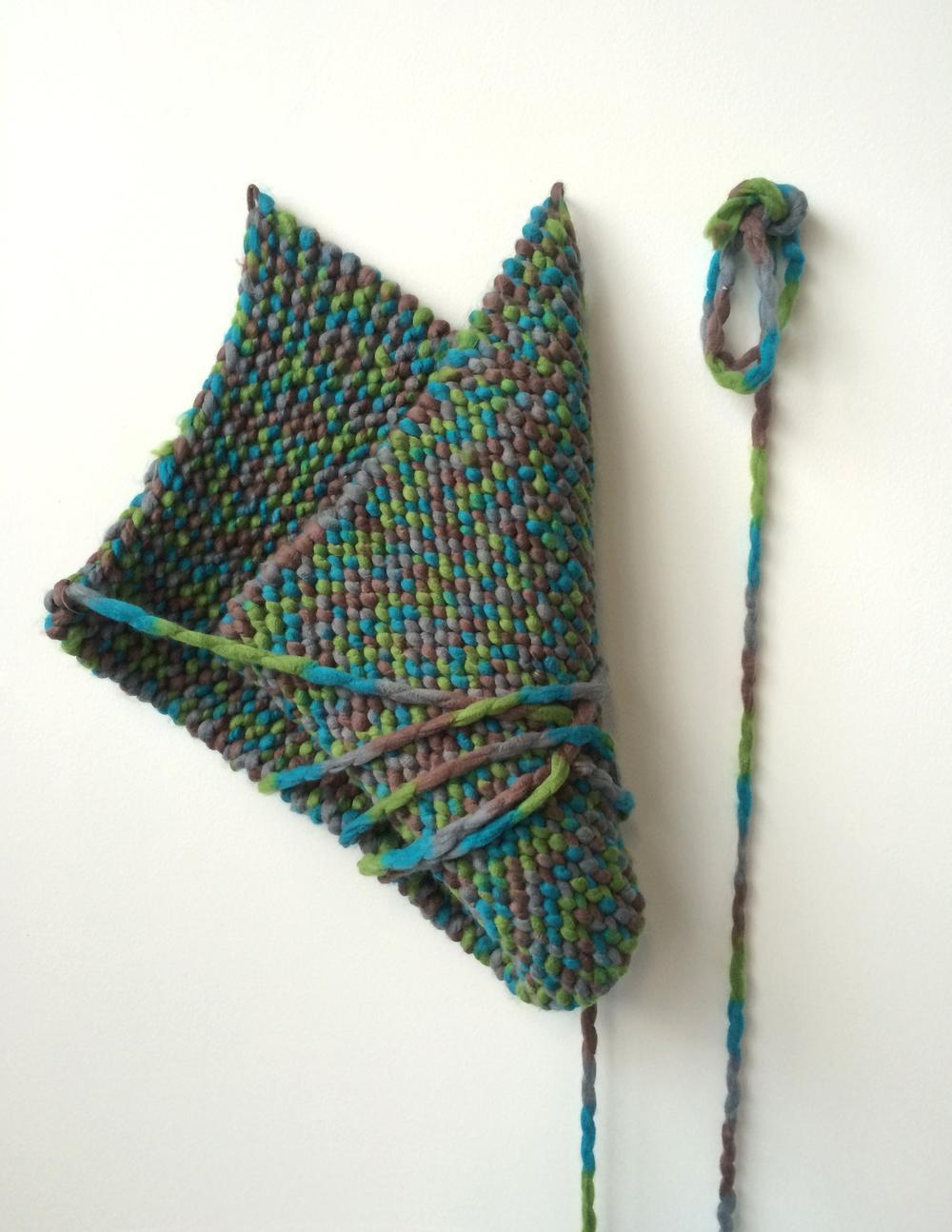 Maude Findlay | 2015 | hand knitted acrylic yarn | 40 x 15