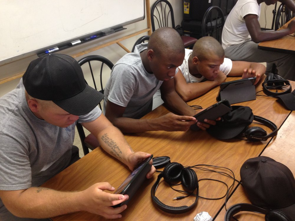 In Phase II audio lessons, cadets work in GarageBand to produce songs and podcasts.