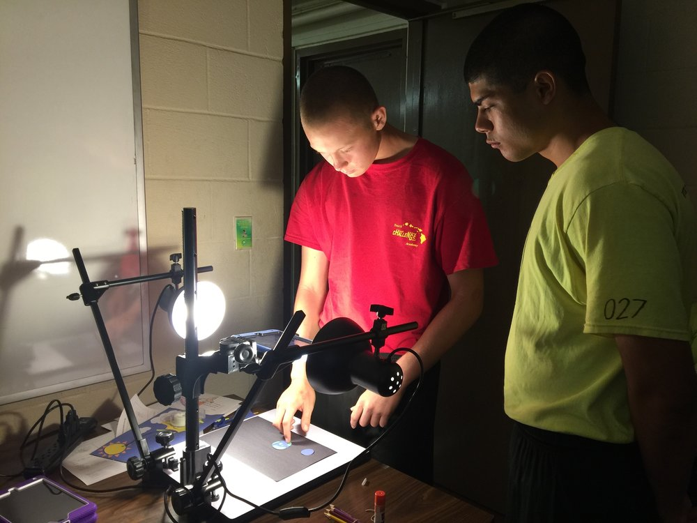 Cadets using stop-motion animation to bring their sustainable energy PSAs to life for the Hawaii Natural Energy Institute.