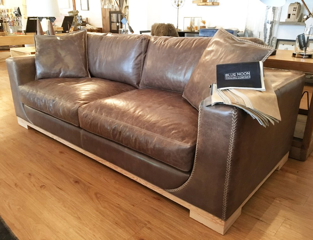 Bench Crafted Distressed Leather Sofa With Hand Stitching