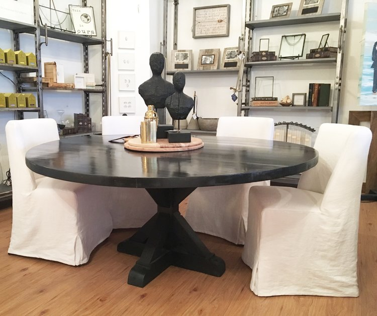 66 Round Black Dining Table Blue Moon Trading Company