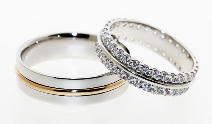 Custom make wedding bands. Ladies: 18K Diamond Eternity Band.  Men: 18K Yellow and Gold Band