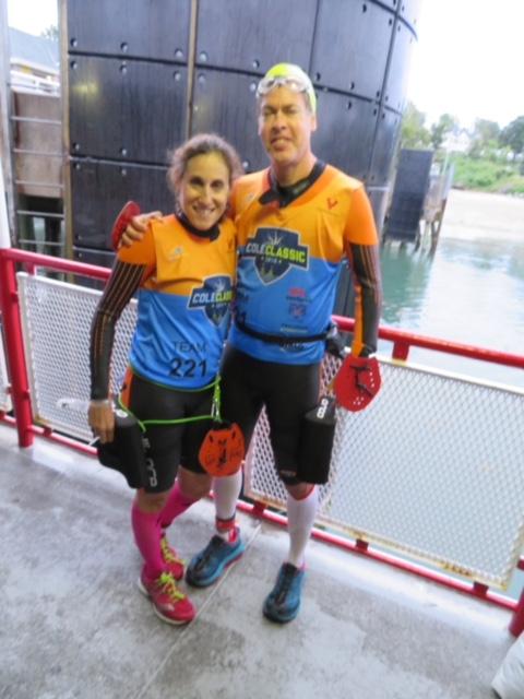 David and his wife Andrea before they raced Casco-Bay Swin Run