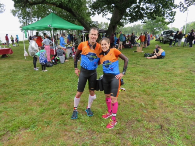 David and Andrea after completing  Casco-Bay Swin Run