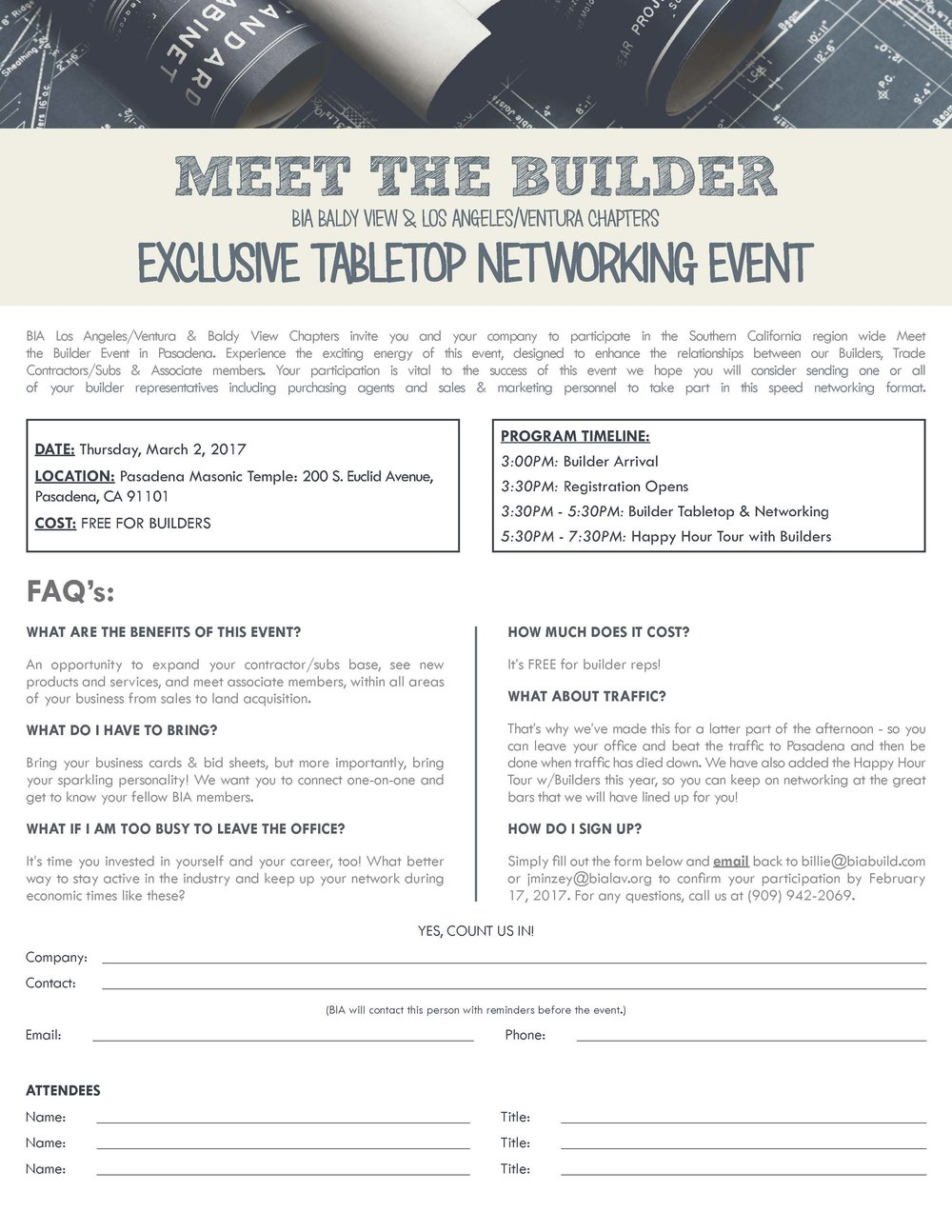 2017 meet the builder bia baldy view bia los angelesventura baldy view chapters invite you and your company to participate in the southern california region wide meet the builder event in reheart Choice Image