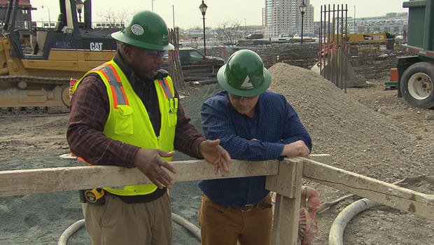 Construction manager Henry Jackson with Mark Strassmann. CBS News