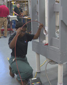 Jody Ann Young, studying to become a plumber, at the Lehigh Career & Technical Institute in Schnecksville, Pa. -CBS News