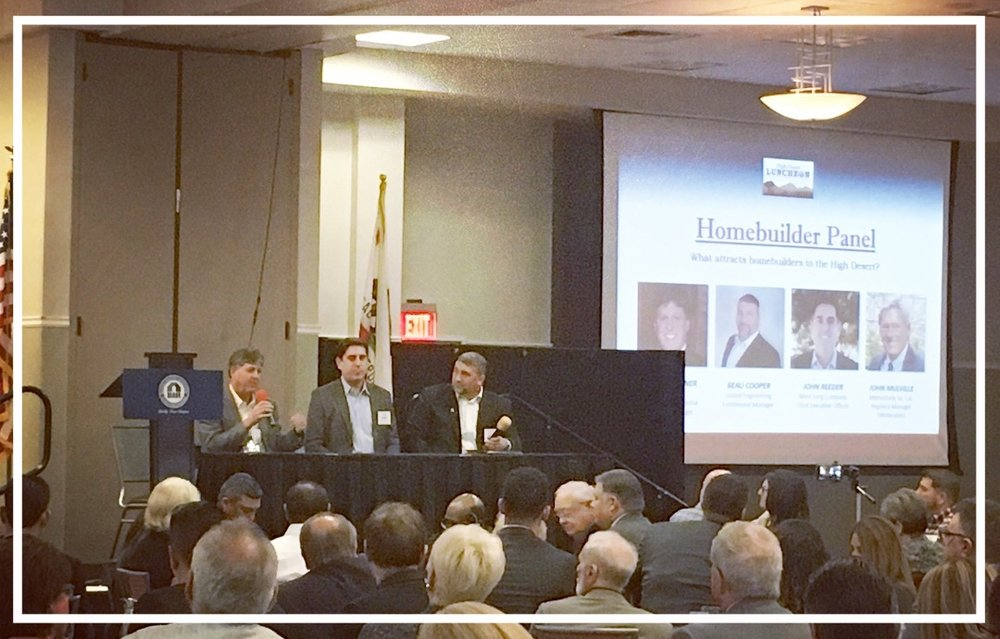 Panelists Steve Ruffner with KB Homes (left), John Reeder with Mimi Song Company (middle) & Beau Cooper with United Engineering Group (right) speaking at the High Desert Luncheon in Victorville Wednesday, March 21, 2018