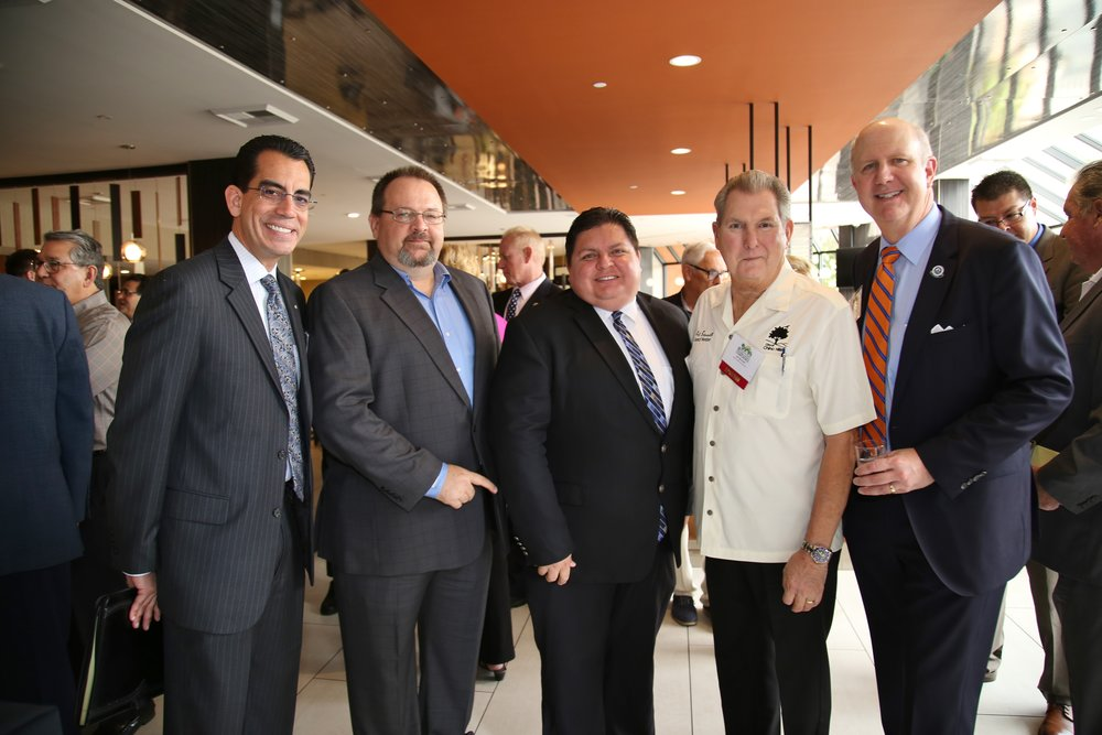 (From left to right) CEO Carlos Rodriguez, BIABV President Phil Burum, Rialto Councilmember Rafael Trujillo, Chino Hills Councilmember Art Bennett, CBIA CEO Dan Dunmoyer.
