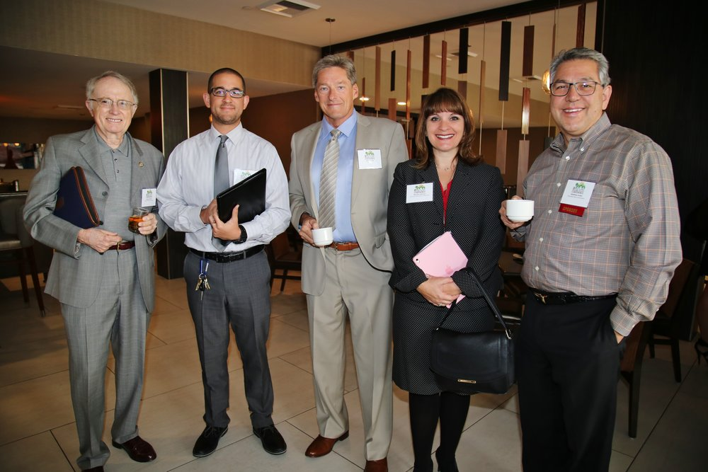 (From left to right) San Bernardino Councilmember James Mulvihill, panelist Frank Castanos, panelist John Mulville, panelist Mariann Johnson, and former BIABV presdent Matt Jordan.
