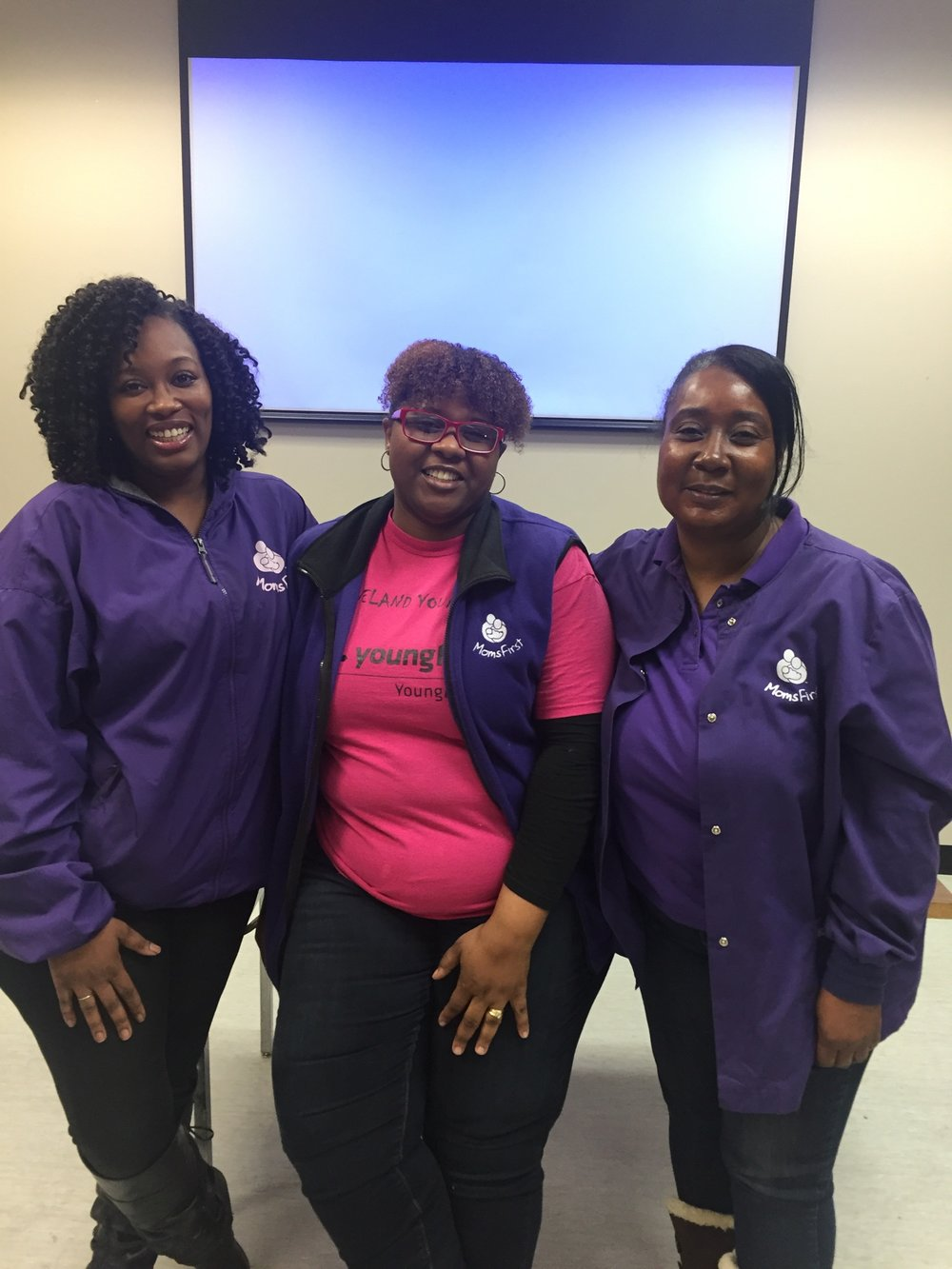 Candence Pinkard, LaTanisha Walker-White and Deedra Jackson. Ms. Jackson was Mrs. Walker-White's CHW and Mrs. Walker-White was Ms. Pinkard's CHW. As a remarkable testament of the success of the program, all three women are currently MomsFirst CHWs.