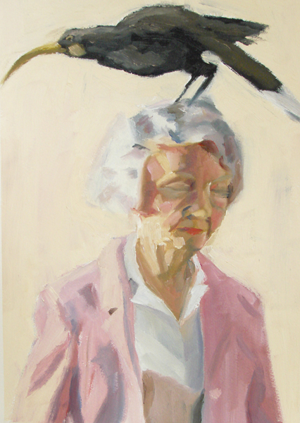 Bird Portrait 4   2004 oil on paper 9 x 13""