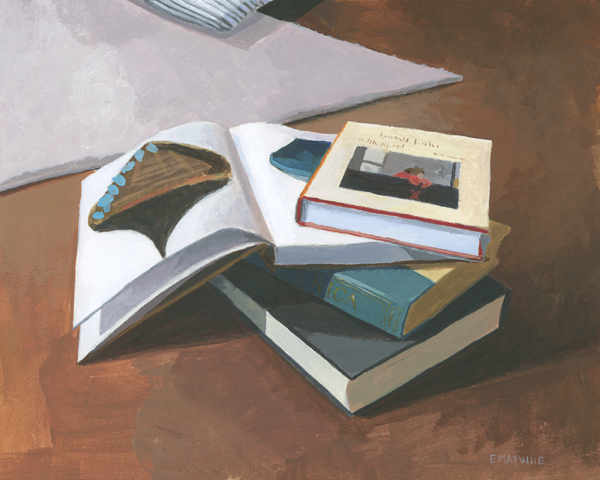 """Book Stack 1   2015 acrylic on paper 8 x 10""""  prints available"""