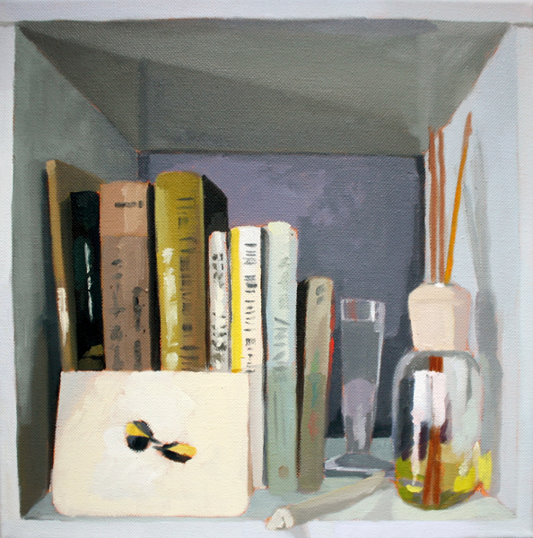 Bookshelf   2012 oil on canvas 12 x 12""