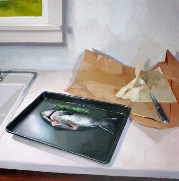"""Fish and Paper   2014 oil on canvas 30 x 30"""""""