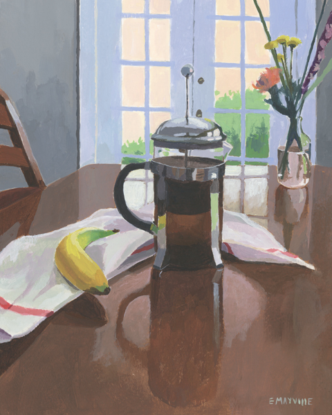 """French Press   2015 acrylic on paper 8 x 10""""  prints available"""