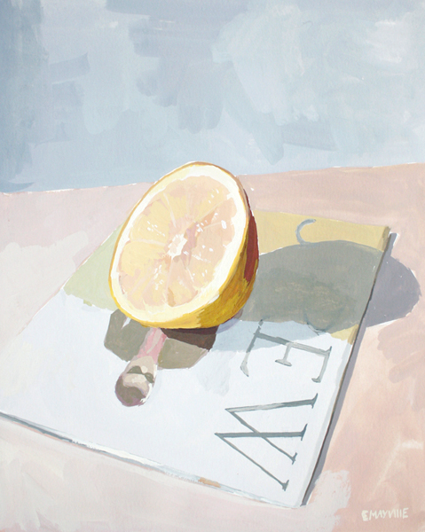 Grapefruit & J. Crew   2012 gouache on paper 8 x 10""