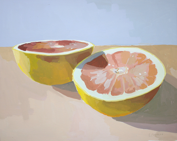 Grapefruit 9   2012 gouache on paper 8 x 10""