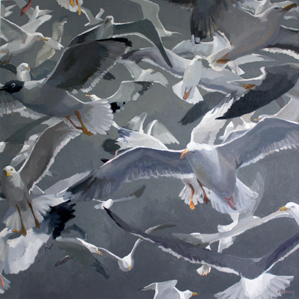 Gulls 2   2012 oil on canvas 35 1/2 x 35 3/4""