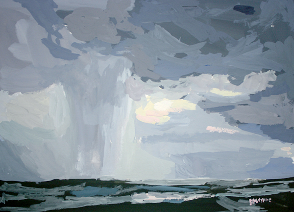 Lake Michigan Storm   2012 gouache on paper 5 x 7""