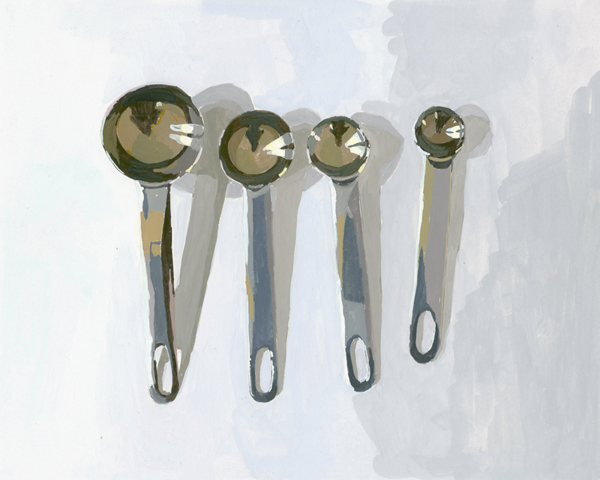 "Measuring Spoons   2012 gouache on paper 8 x 10""  prints available"