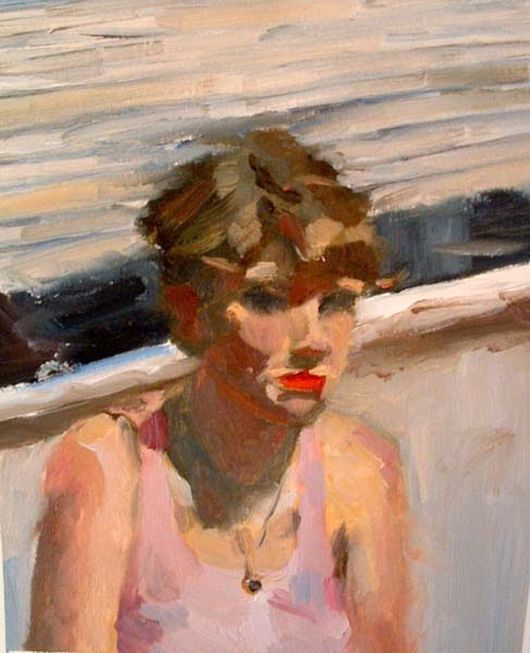 Self Portrait with Red Lips   2004 oil on paper 9 x 11""